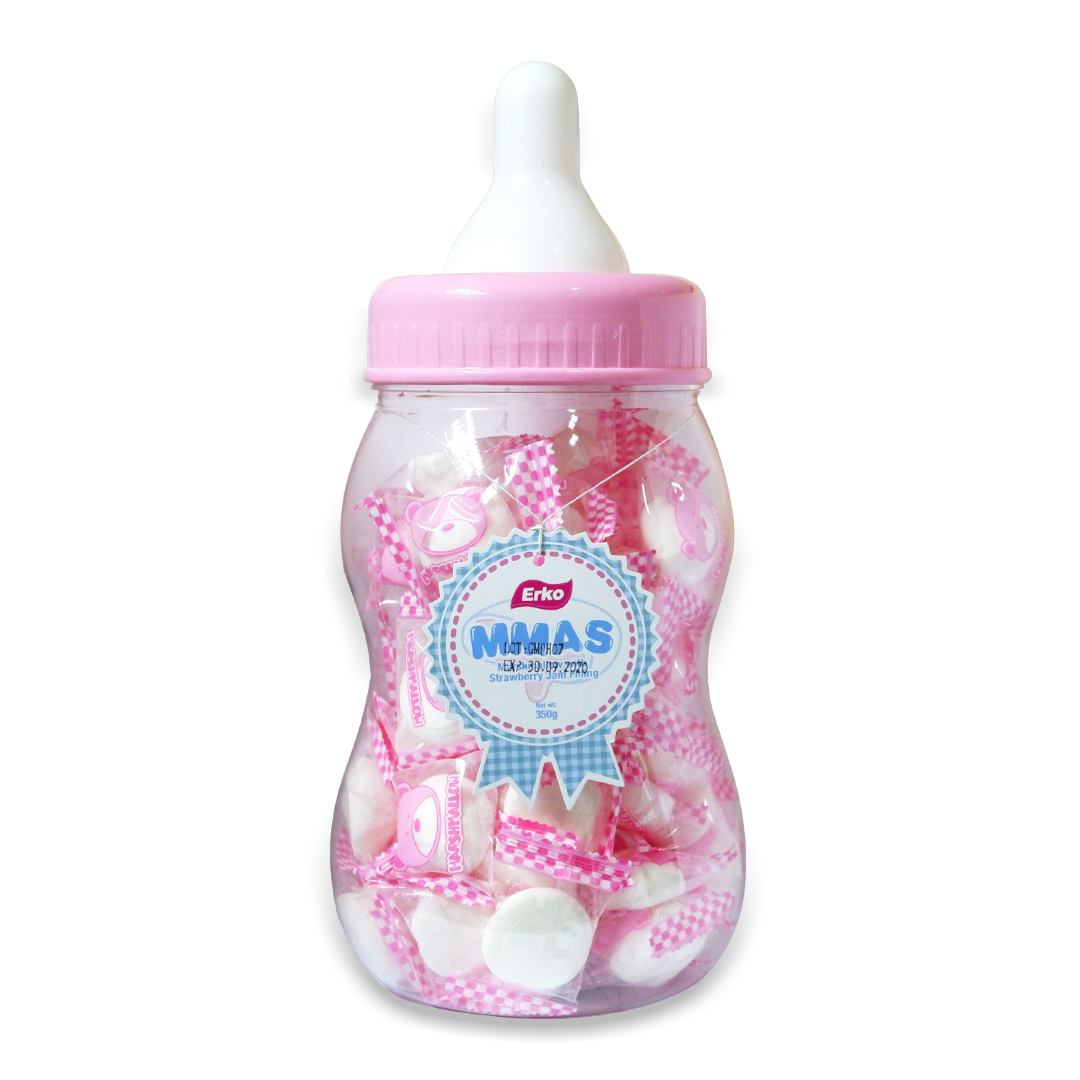 Erko MMAS Marshmallow with Jam Filling Strawberry 350g (pink bottle)
